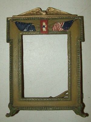 Antique Victorian Gold Gilded Cast Iron Patriotic Eagle Military Picture Frame