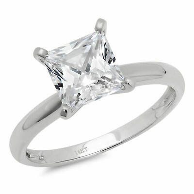 1.0 ct BRILLIANT Princess CUT SOLITAIRE ENGAGEMENT RING REAL 14K White GOLD