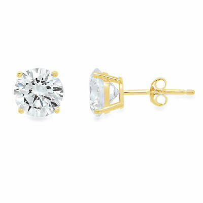 2 ct Round Cut Solitaire Stud Earrings in Solid 14k Real Yellow Gold Push Back