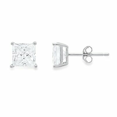 4.0 ct Princess Cut Solitaire Stud Earrings Solid 14k Real White Gold Push Back