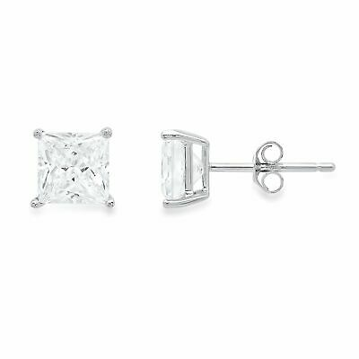 3.0 ct Princess Cut Solitaire Stud Earrings Solid 14k Real White Gold Push Back
