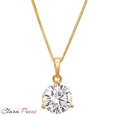 """2.0Ct Round Cut 14K Yellow Gold 3-prong Pendant Necklace Box With 18"""" Chain"""
