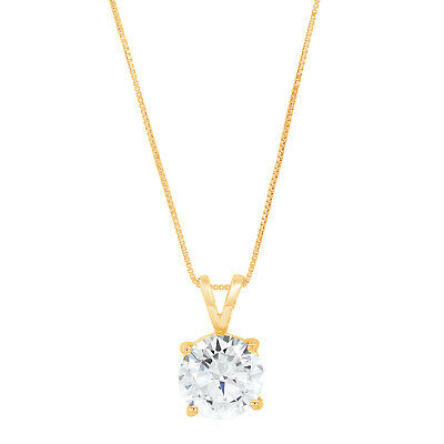 """3.0 Ct Round Cut 14K Yellow Gold Solitaire Pendant Necklace Box With 16/"""" Chain"""