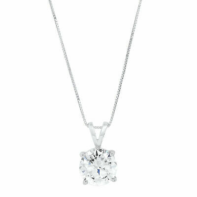 """2.0Ct Round Cut 14K White Gold Solitaire Pendant Necklace Box With 16"""" Chain"""