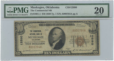 1929 Type 1 $10 The Commercial National Bank in Muskogee, OK PMG VF 20 #12890