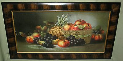 ANTIQUE WOOD&COMPOSITION FRAME w/GRAINED FINISH STILL LIFE FRUIT PRINT HADLAND