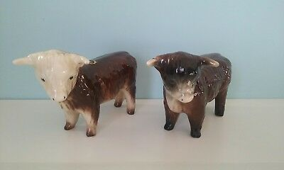 Pair Trentham Art Ware Bulls Cow Made In Devon Excellent Condition