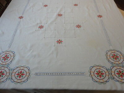 "Beautiful Vintage Hand Embroidered Linen Tablecloth   46"" X 72"""
