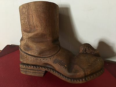 """Vintage Handcarved Wood Boot-Much Smaller Than Life Size, Detailed! 4"""" X 5.5"""""""