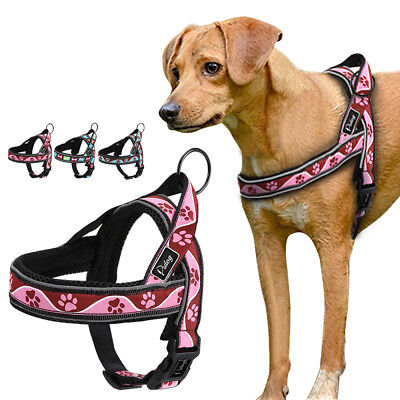 No Pull Medium Large Dog Harness Bone/Paw Reflective Padded Quick Fit Pet Vest