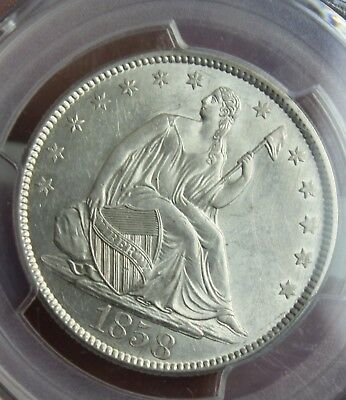 1858 Seated half dollar 50C PCGS MS62 SILVER COIN
