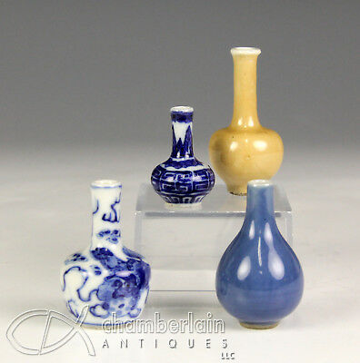 Lot Of Four Old Chinese Miniature Porcelain Bottle Cabinet Vases