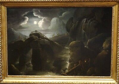 Large 18th Century Italian Old Master Waterfall Moonlit Landscape Oil Painting
