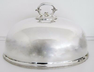 GOLDSMITHS & SILVERSMITHS Beaded Design Silverplate Meat Dome Lid Cover w Handle