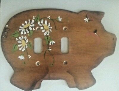 Vintage Wooden Pig Double Switch Plate Cover With Flowers.