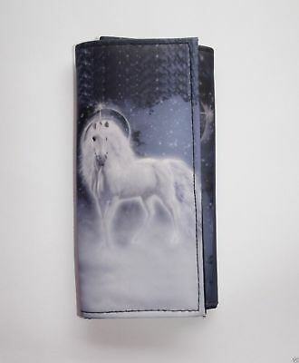 Blue Unicorn Wallet Fantasy Purse 18x9cm  Magnetic Fastener Zip Inner
