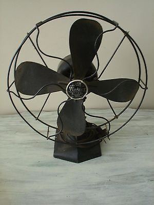 """Wagner Electric Corp Type 52601~Model L515A893~10"""" Oscillating Desk Fan VGC"""