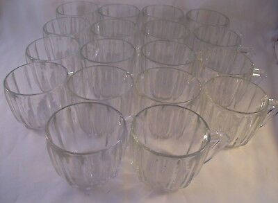 Vintage Jeannette Set of 18 Punch Bowl Cups Snack Mayflower 100 Clear 1960