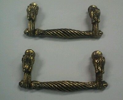 "2 Vintage Antique Solid Brass Metal Drawer Pull Bars Handles 3 3/4"" apart holes"