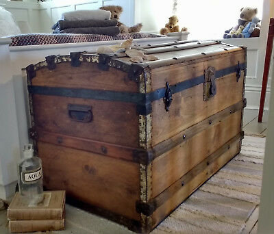 AN OLD DOME TOPPED TRAVEL TRUNK Storage Box  VINTAGE PINE BOX