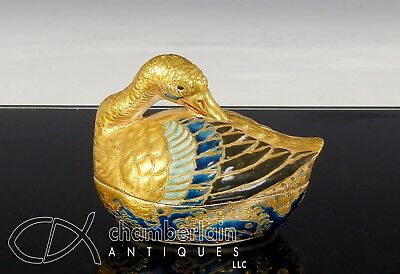 Superb Antique 19C Japanese Satsuma Pottery Duck Form Kogo Box With Gosu Blue