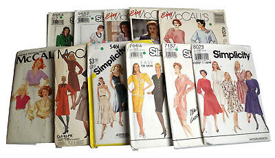 Mixed Lot of 11 Vintage Misses Sewing Patterns Dress Jacket Shirts Skirts Blouse