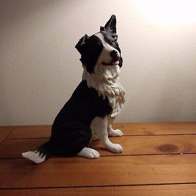 """Border Collie Figurine Hand Painted, 9 """" Tall, 7 """" Length, 4"""" width"""