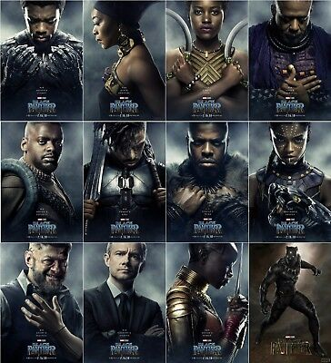 "Black Panther Movie Poster 2018 Cast Character Art Print 13x20"" 24x36"" 32x48"""