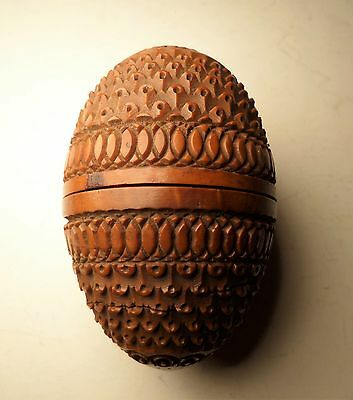 Antique TREEN Wooden Egg Case Carved Cricket Cage Sewing Thimble Holder Box