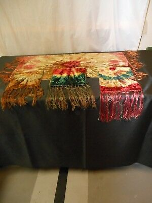 Four Antique Victorian Multicolor Tie Dye Dresser Scarves/Table Runners Set of 4