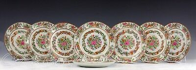 Gorgeous Set Of 8 Antique Chinese Famille Rose Porcelain Plates W Dragons