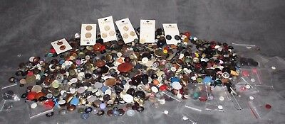 Huge Vintage Lot Of 3.5 Pounds Of Sewing Buttons - Wooden - Metal - & Much MORE!
