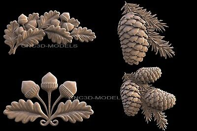 3D Model STL for CNC Router Carving Artcam Aspire Leaf Acorn Forest v480