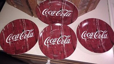 """Set Of 4 Coca-Cola Red Collector Plates Dishes 7-1/2"""" Diameter By C. R. Gibson"""