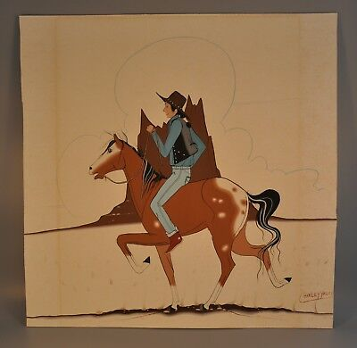 Charley Yazzie (1944-) Original Painting Navajo Cowboy On Pinto Horse Shiprock