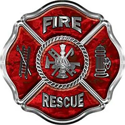 Firefighter Fire Rescue Maltese Cross Decal Diamond Plate Yellow REFLECTIVE FF32