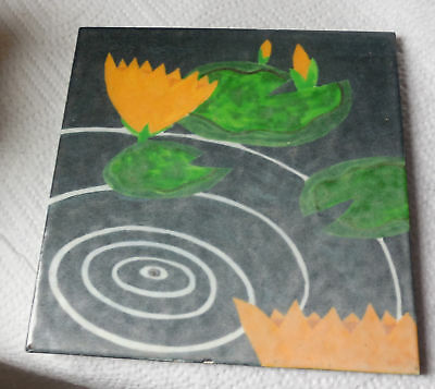 Vintage Gladding McBean Hermosa Lilies Lily Pad Pottery Ceramic Tile