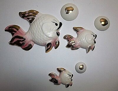 Vintage Ceramic FISH And BUBBLES Wall Plaques Bath Decor 6 Piece Set PINK Gold