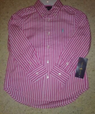 Nwt Polo Ralph Lauren Boys Striped Little Pony Button Up Long Sleeve Shirt Pink
