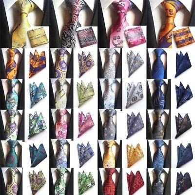2018 Fashion Mens Wedding Jacquard Woven Silk Tie And Hanky Pocket Square Set