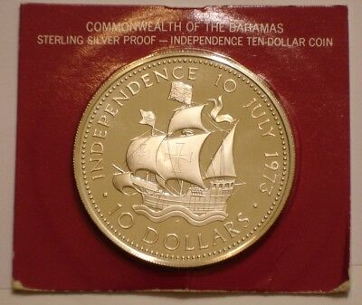 1973 Silver $10 Ten Dollars Bahamas superb Gem PROOF 1.5 oz Independence