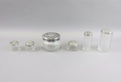 6 Piece Sterling Lidded Crystal Dresser Jars/Vanity Set Threaded Lids