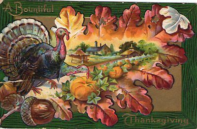 Lot of Two (2) Vintage Thanksgiving Postcards 1908 and 1911 Embossed Thanksgivin