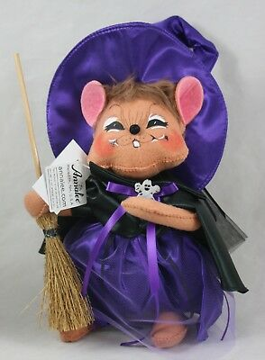 "Annalee Dolls Halloween 10"" Purple Witch Mouse Grinning NWT"