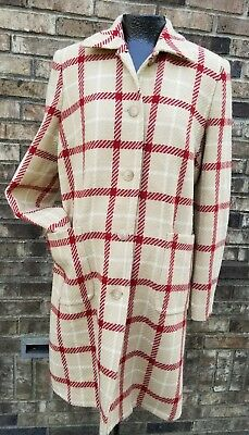 Pea In The Pod Wool Plaid Coat Red & Tan On Cream Sz S Roomy Pockets Full Lining