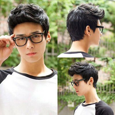 CO_ Short Men Hair Wig Male Hairpiece Dyed Synthetic Cosplay Costume Prop Novelt