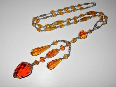 Vtg Art Deco Fancy Cut Amber Glass & Filigree Bead Tassel Drop Satoir Necklace