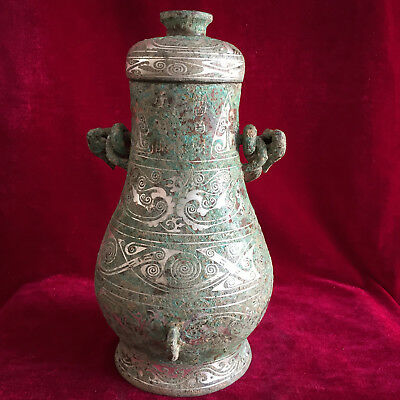 antique    China's ancient bronze silver-plated double-ear high tripod.