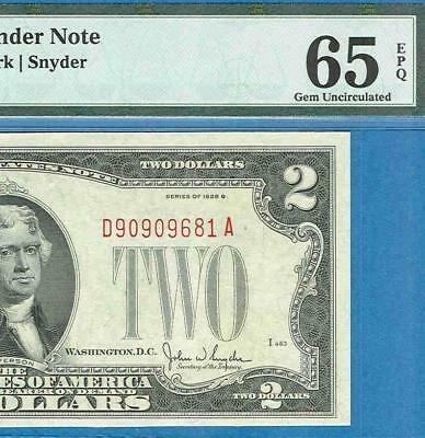 $2.00 1928-G Red Seal United States Note Pmg Certified Gem  New 65Epq
