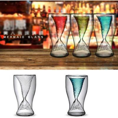 Mermaid Double Wall Yransparent Glass Cup Heat Resistant Milk Juice Drinking JA